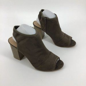 APT. 9 taupe brown peep toe block heel